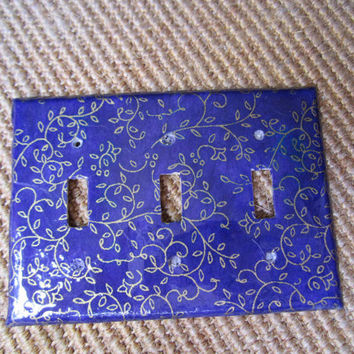 Purple and gold scroll vines light switch plate Triple Toggle