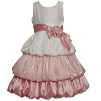 Bonnie Jean LITTLE GIRLS 4-6X PINK WHITE IRIDESCENT TONAL COLORBLOCK TRIPLE TIERED BUBBLE Special Occasion Flower Girl Pageant Party Dress