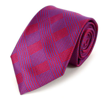 Purple and Blue Plaid Striped Necktie