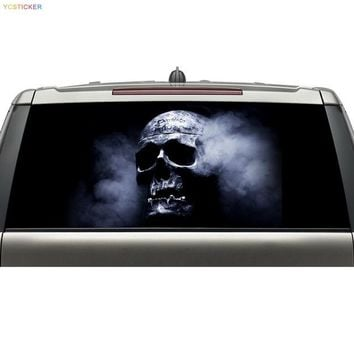 shenzhen aliexpress best selling products custom car rear windshield decals skull head graphic vinyl stickers with free shipping - Yellow, 168X70CM
