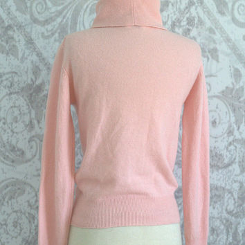 Pink Cashmere Sweater Pink Turtleneck Sweater Winter Cashmere Sweater Pale Pink Cashmere Sweater Womens Cashmere Sweater Size Medium