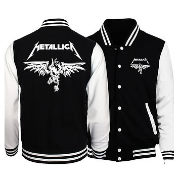 2017 spring new fashion baseball uniform Classic Heavy Metal harajuku Rock print men hip hop punk sweatshirts drake brand hoody