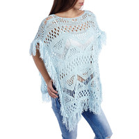 Blue open knit poncho cape