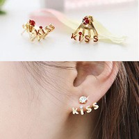 Red Cute Kiss Rhinestone Earrings