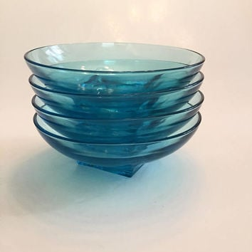 Capri Blue Glass Bowls, Set of 4 Hazel Atlas Capri Aqua Glass Bowls, Mid Century Glass