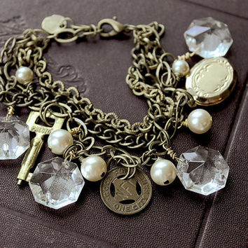 Buffalo Token Upcycled Charm Bracelet with Vintage Brass Transit Token, Locket, Old Key, Chandelier Crystals and Pearls OOAK