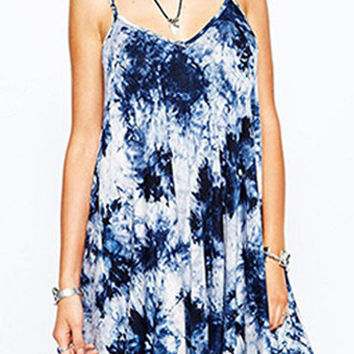 Retro Blue Ink Tie-dye Printed V-neck Loose Straps Summer Mini A-line Plus Size Dress Open Back