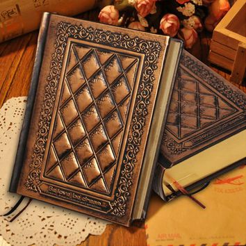 New vintage retro notebooks Embossed plaid PU leather framed note book Agenda diary journal office school supplies