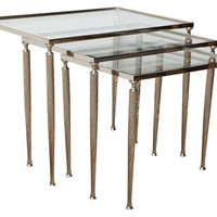 Nickeled Metal Nesting Tables, S/3