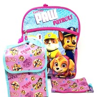 "Licensed 5 Items Paw Patrol 16"" Large Backpack With Lunch Bag-Case-Water Bottle"