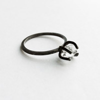 Herkimer Diamond Freeform Prong Ring in Sterling