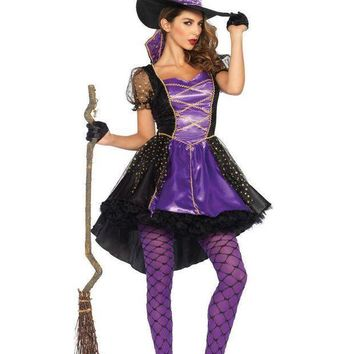 2pc.crafty Vixenhigh/low Dress W/stay Up Collar Witch Hat Sml/med Black/purple
