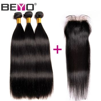 "Beyo Hair Straight Human Hair 3 Bundles With Closure Indian Hair Weave Bundles Swiss Lace Closure With Baby Hair 4""X4"" Non Remy"