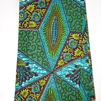 Blue Green Turquoise floral abstract African print fabric by the Yards/ Ankara fabric/ African Supplies/ African print