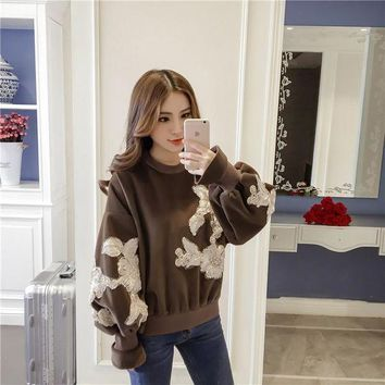 VON7TL Tops Winter Korean Floral Lights Suede Pullover Hoodies [196476108826]