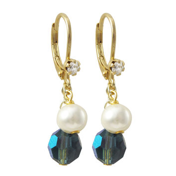 6mm Montana AB Preciosa Bead And 6mm White Glass Pearl, On Gold Plated Surgical Steel With White Crystal Lever Back Earrings