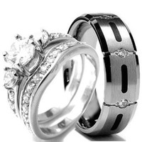 His and Her STERLING SILVER & TITANIUM Wedding rings set (Size Men's 10 Women's 10)