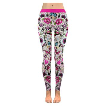 Sugar Skull Design 2 All-Over Low Rise Leggings