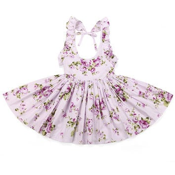 Baby Girls Dress Brand Summer Beach Style Floral Print Party Backless Dresses For Girls Vintage Toddler Girl Clothing 1-10Yrs