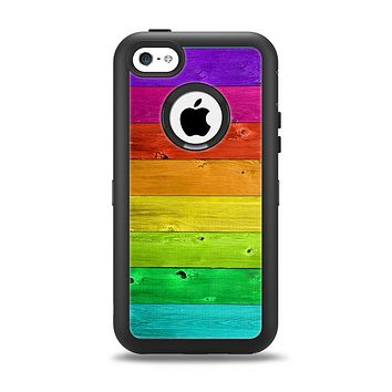 The Rainbow Highlighted Wooden Planks Apple iPhone 5c Otterbox Defender Case Skin Set