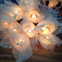 String Lights - 20 White Natural Flower Leaves Fairy String Lights Wedding Floral Home Decoration,Indoor String lights,Bedroom Fairy lights.