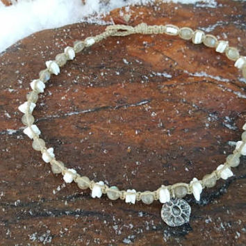 Hemp Choker, Puka Shell Jewelry, Labradorite Necklace, Hieroglyphic Sun Charm, Hemp Sun Choker, Shell Choker Necklace, Gift, Handmade, Hemp