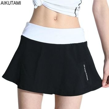 Womens Tennis Skorts Breathable Elastic High Waist with Zipper Pocket Sport Skirt for Tennis Skort Fitness Workout Running