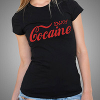 Enjoy Cocaine Funny T Shirt  Slogan Gift Tees Birthday Gift 100% Cotton Tops