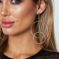 Double Circle Earrings Silver