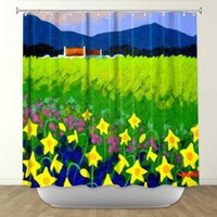 Shower Curtain Artistic Designer from DiaNoche Designs by Artist John Nolan Unique, Cool, Fun, Funky, Stylish, Decorative Home Decor and Bathroom Ideas - Spring Daffs I