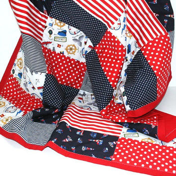 Nautical Baby Boy Quilt, Boys Nursery Bedding, Nautical Nursery Decor, Patchwork Crib Quilt, Red Baby Boy Bedding, Nautical Nursery Bedding