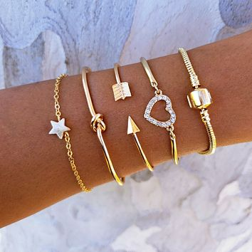 Heart Star Bracelet Set