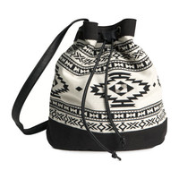 H&M - Drawstring Bag - Black/White - Ladies