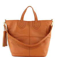 Maroquin Leather Tote Bag, Chestnut