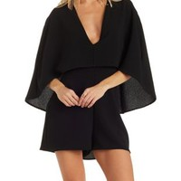 Black Layered Deep V Cape Romper by Charlotte Russe