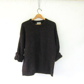 Vintage dark brown chunky sweater. Oversized wool blend sweater. LL Bean sweater. baggy boyfriend sweater.