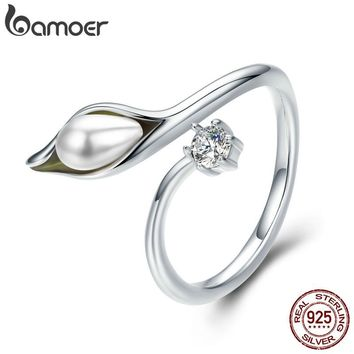 BAMOER Authentic 925 Sterling Silver Elegant calla lilies Flower Buds Adjustable Female Ring for Women Engagement Jewelry SCR299