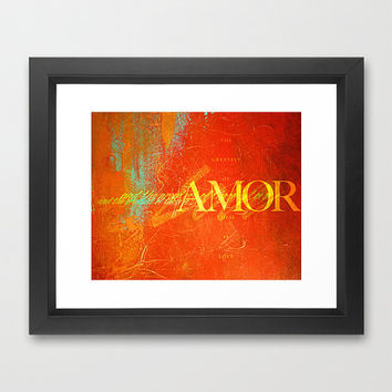 Amor Love Home Decor Framed Print Quote Typography Orange Yellow Fall Colors The Greatest Of These Is Love Thanksgiving
