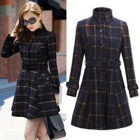 High Neck Long Sleeves Slim Flared Hem Long Plaid Coat With Belt on