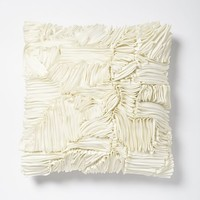 Ruffle Ribbon Pillow Cover - Ivory