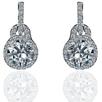 2CT TW round simulated diamond - Diamond Veneer solitaire post Sterling Silver earrings 635E15718