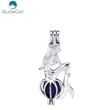 K242 5pcs/lot Kid Girls Locket  Mermaid Beads Pearl Cage Pendant Fairytale Party Essential Oil Diffuser
