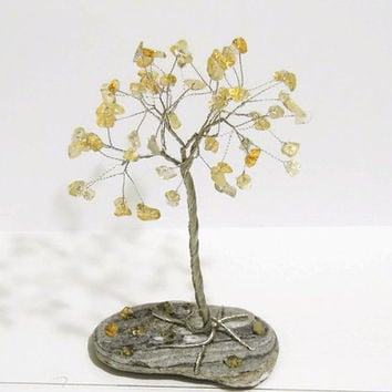 Citrine wire tree,November birthstone,Unique gift,Birthday gift,for dad,for her,Baby room decor,baby gift,teen gift,healing tree,zen decor