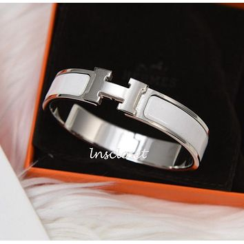 BNIB NEW HERMES CLIC H CLAC ENAMEL BANGLE BRACELET WHITE SILVER PLATED PM