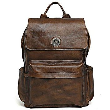 BLUESEBE HANDMADE FULL GRAIN LEATHER BACKPACK - VINTAGE BROWN