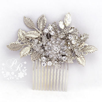 Wedding Hair Comb Rhinestone vermeil silver leaves Bridal hair comb Wedding Hair accessory Wedding Jewelry Bridal Accessory Head Piece rose