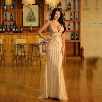 Champagne Evening Dresses Long for Women Elegant Sexy Deep V-neck Backless Beading Mermaid Prom Party Gowns