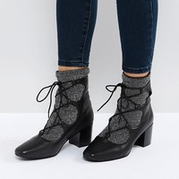 Sol Sana Cupid Black Leather Glitter Ghillie Boots at asos.com