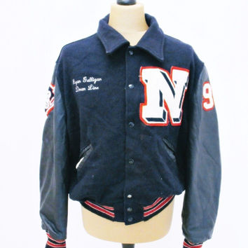 Vintage 1994 VARSITY Baseball Devil Patch Drummer Jacket Heavy Wool / Leather XL