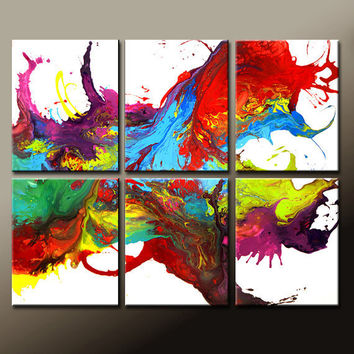 """6pc Abstract Canvas Art Paintings 48x40"""" Contemporary Original Wall Art Set  by Destiny Womack - dWo -  On The Wildside - SALE"""
